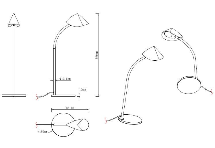 Lámpara mesa 8,5W 56cm. Capuccina